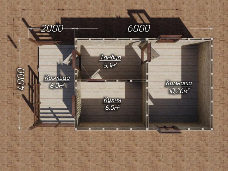 Хозблок 8х4 с террасой