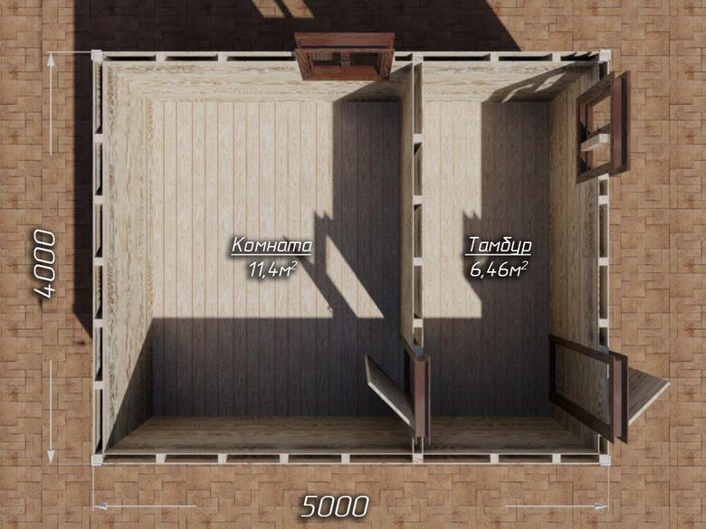 Сарай на сваях 5х4  двухскатная крыша