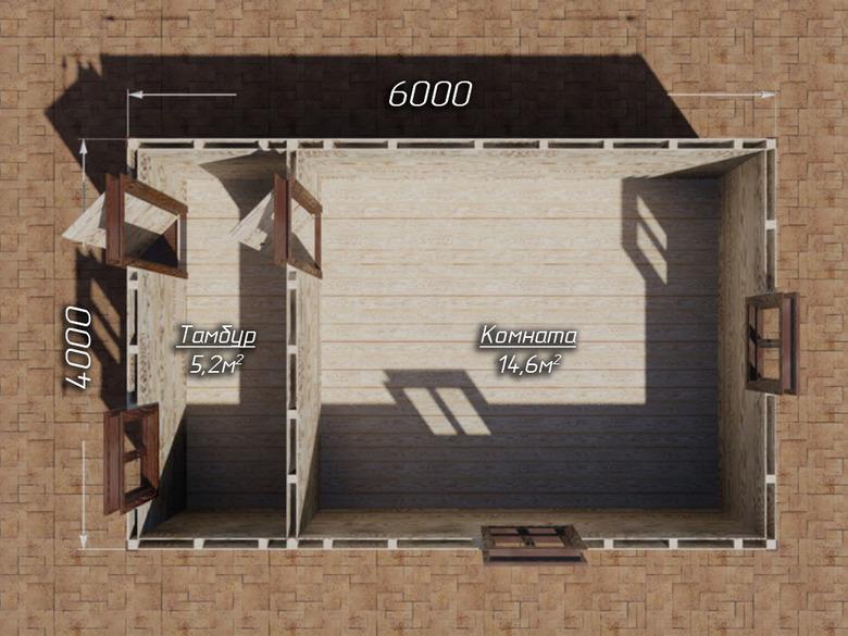 Сарай на сваях 6х4 двухскатная крыша